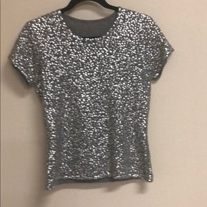 Gray cashmere tiny sequined short sleeves sweater